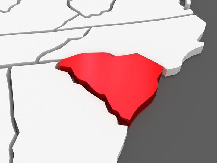 3d south carolina map