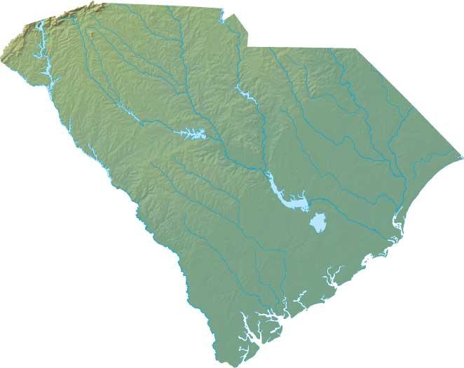 South Carolina relief map